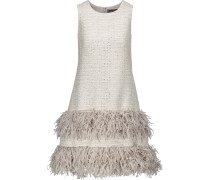 Fringed Metallic Tweed Mini Dress Hellgrau