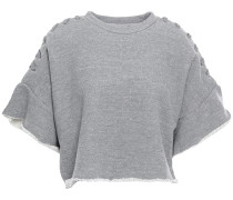 Cropped Lace-up French Cotton-blend Terry Sweatshirt