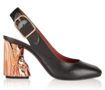 Odelia Palm Textured-leather Pumps Schwarz
