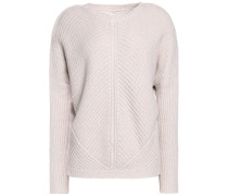 Ribbed-knit Sweater Wollweiß