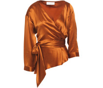 Wrap-effect Layered Silk-satin Top