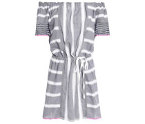 Off-the-shoulder striped cotton-gauze coverup