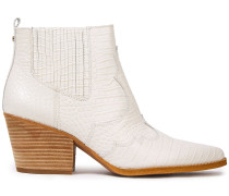 Winona Croc-effect Leather Ankle Boots