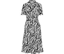 Deborah Zebra-print Silk Crepe De Chine Dress