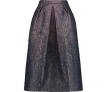 Pleated Metallic Jacquard Midi Skirt Rauchblau