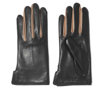 Stella Two-tone Wool-lined Leather Gloves Schwarz