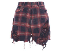 Woman Distressed Checked Cotton-flannel Shorts Navy