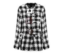 Buckle-embellished checked wool-blend jacket