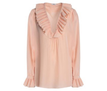 Ruffled pleated silk crepe de chine blouse