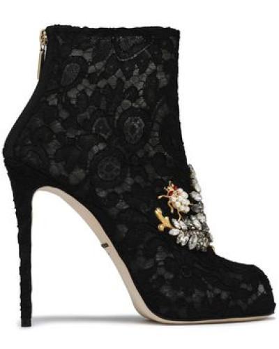 Embellished Lace Ankle Boots Black