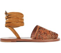 Suede-trimmed Studded Embossed Leather Sandals