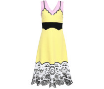 Color-block Broderie Anglaise-paneled Cotton Midi Dress