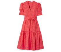 Holliday Belted Polka-dot Linen-blend Midi Dress