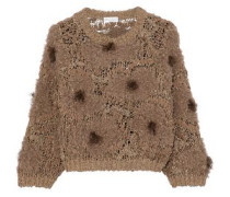 Frayed embellished bouclé and open-knit sweater