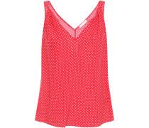 Woman Twisted Polka-dot Silk Crepe De Chine Camisole Crimson