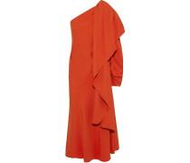 One-shoulder Draped Crepe Midi Dress