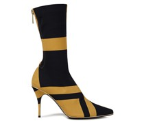 Metallic-trimmed Printed Stretch-jersey Sock Boots