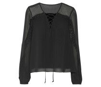 Lace-up Lace-trimmed Georgette Blouse Schwarz