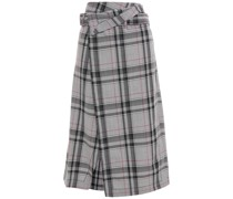 Asymmetric Checked Jacquard Midi Skirt