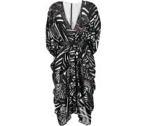 Ness Belted Stretch-silk Chiffon Dress Schwarz