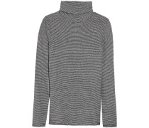 Striped Cotton And Linen-blend Turtleneck Top Navy