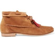 Tassel-trimmed nubuck moccasin ankle boots