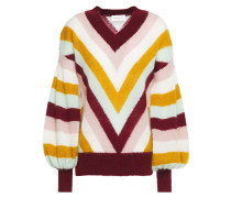 Fleeting Chevron Gathered Striped Mohair-blend Sweater