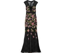 Floral-appliquéd Lace Gown Schwarz