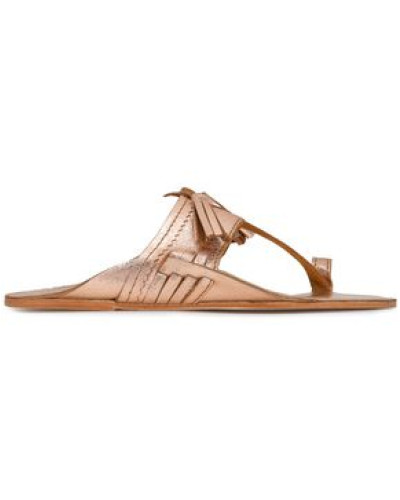 Kiki Tasseled Metallic Leather Sandals Rose Gold