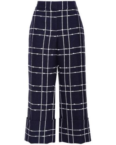 Cropped Cotton-blend Jacquard Wide-leg Pants Navy