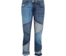The Fling Patchwork Low-rise Boyfriend Jeans Mittelblauer Denim