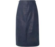 Morelos Croc-effect Leather Skirt