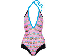 Stretch Jersey-trimmed Crochet-knit Halterneck Swimsuit Babypink