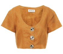 Lou Cropped Button-detailed Linen Top