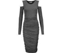 Cutout Ruched Stretch-jersey Dress Anthrazit