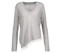 Asymmetric Embellished Silk And Cashmere-blend Sweater Grau