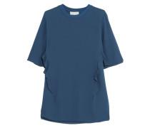 Ruffled Silk T-shirt Blau