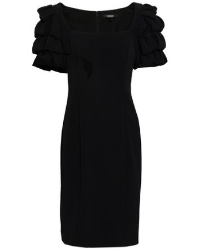 Ruffled Stretch-crepe Dress Black