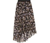 Asymmetric tiered printed crinkled silk-chiffon skirt