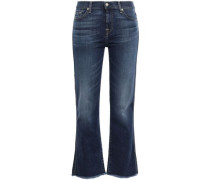 Woman Cropped Frayed Mid-rise Bootcut Jeans Dark Denim