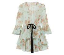 Jacke aus Seidenorganza mit Schößchen, Floralem Print, Samtbesatz und Rüschen