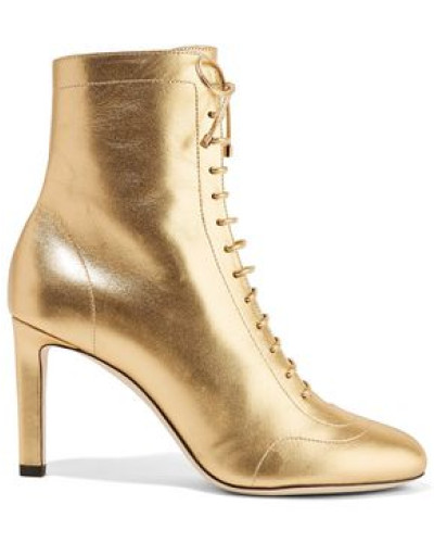 Daize 85 Lace-up Metallic Leather Ankle Boots Gold