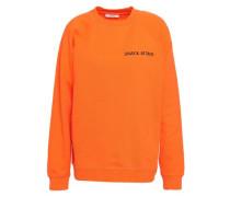 Lott Isoli Embroidered French Cotton-terry Sweatshirt Orange