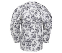Gathered Floral-print Cotton-poplin Blouse