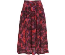 Amelie Pleated Printed Silk Midi Skirt