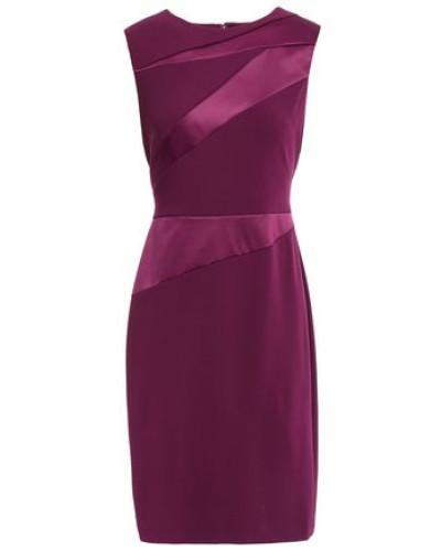 Woman Satin Twill-paneled Stretch-crepe Dress Burgundy