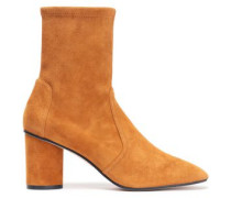 Smooth And Cracked-leather Ankle Boots Tan