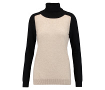 Two-tone Cashmere Turtleneck Sweater Beige
