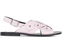 Slingback-sandalen aus Leder mit Floralen Applikationen
