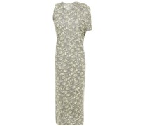 Asymmetric Draped Metallic Jacquard-knit Midi Dress